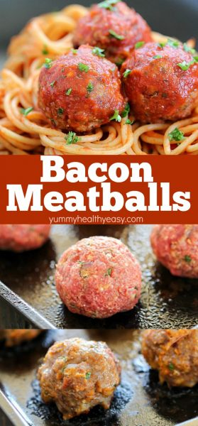 Looking for a flavorful dinner for tonight? I've got the answer - Bacon Meatballs!! Easy and sooo good! These are great straight from the pan or served with pasta and sauce!