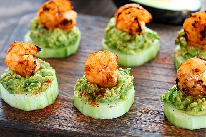Looking for a healthy appetizer to bring to a get together or BBQ? I've got you covered with this recipe for Low Carb Avocado Shrimp Cucumber Appetizer!