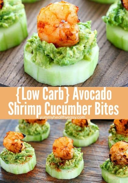 This Low Carb Avocado Shrimp Cucumber Appetizer has a base of sliced cucumber, then mashed avocado and topped off with spicy grilled shrimp. SO good and easy!  #AD