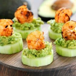 Low Carb Avocado Shrimp Cucumber Appetizer