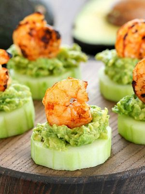 This Low Carb Avocado Shrimp Cucumber Appetizer will be your new favorite appetizer! Low carb, easy to make and delicious!