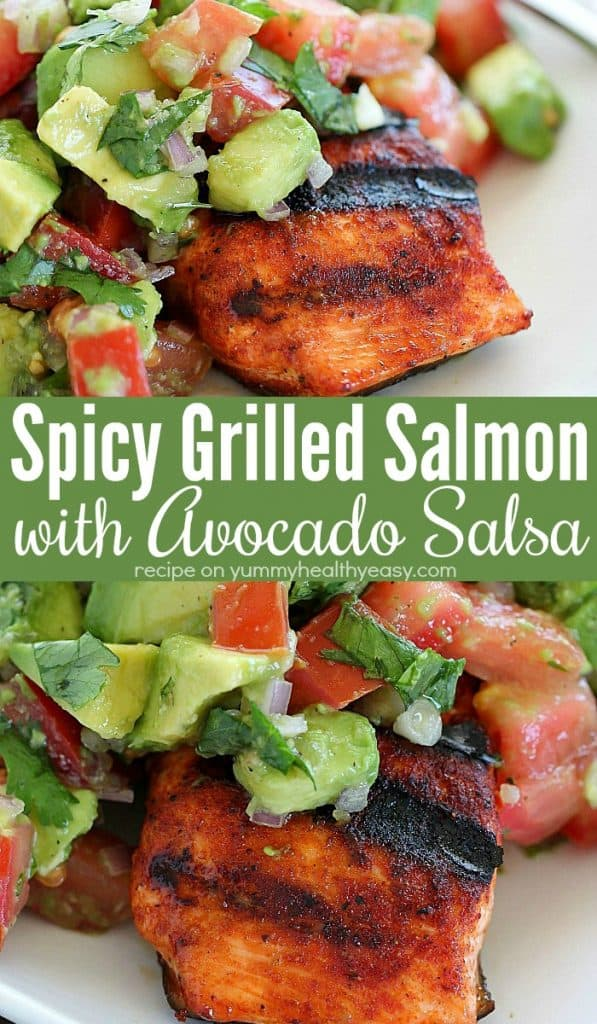The whole family will go crazy for this Spicy Grilled Salmon with Avocado Salsa! Coat the salmon with an easy to make, sweet & spicy rub. Then throw the seasoned salmon fillets on the grill and whip up an easy Avocado Salsa to top this Spicy Grilled Salmon off with. This is an easy, healthy salmon dinner that is sure to please! #easydinnerrecipe #salmon #salmonrecipe #healthydinner #grillrecipe #grilledsalmon #spicysalmon #spicy #avocado #avocadosalsa #dinnertime #dinner #bbqrecipe