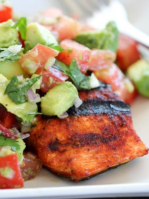Need a quick & easy dinner for tonight? Whip up this Spicy Grilled Salmon with Avocado Salsa in no time!