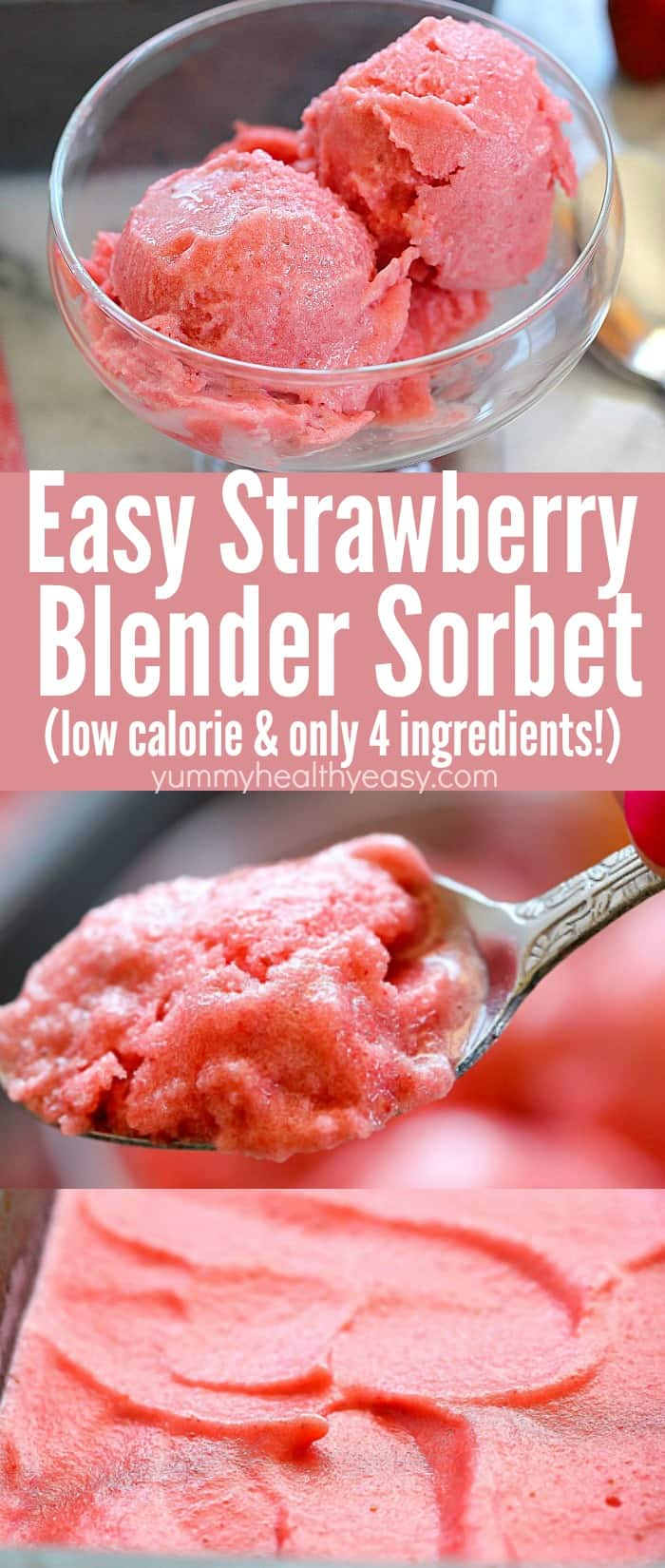 Get ready for a flavor explosion when you try this Easy Strawberry Sorbet Recipe! Only a few ingredients and a blender needed for this delicious, healthier summertime treat -only 21 calories per serving! #AD #sorbet #strawberry #summer #dessert #healthyrecipe #healthydessert via @jennikolaus