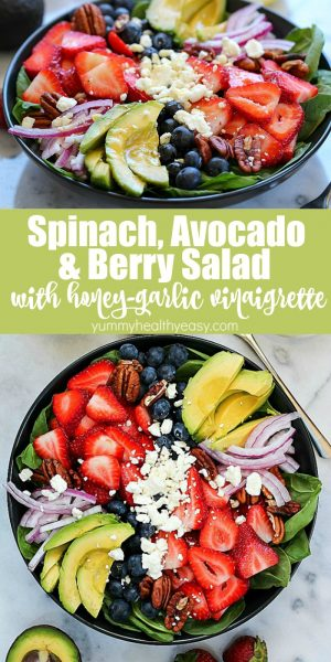 You will FLIP over this Spinach Salad Recipe! Leaves of spinach topped with berries, avocado, feta cheese, walnuts and a homemade honey-garlic vinaigrette! #ad