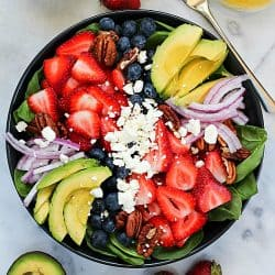 Spinach Salad Recipe with Avocado, Berries & Honey Vinaigrette