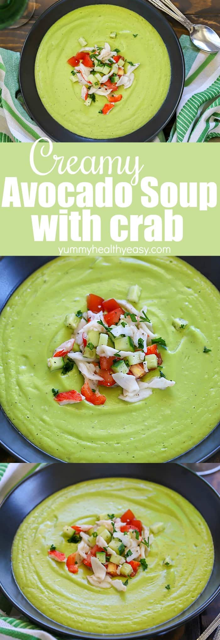 Toss your avocados in the blender and make this Avocado Soup with Crab! This creamy blended concoction is best served with a topping of crab and cucumber mixture to make a delicious meal! Only a few ingredients needed and it's easy to make but tastes like restaurant quality! (The soup is dairy-free and vegetarian without the crab topping.) #ad #avocado #soup #dinner #recipe #healthy #crab #vitamix #easy #dairyfree #vegetarian via @jennikolaus