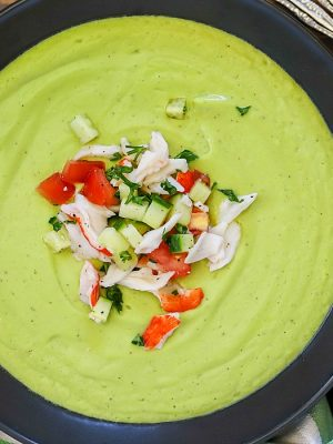 Try avocado in a new way and make this Avocado Soup with Crab! Tons of flavor packed into this dairy-free, vegetarian soup. Try topping with a little crab and cucumber salad for a little oomph!