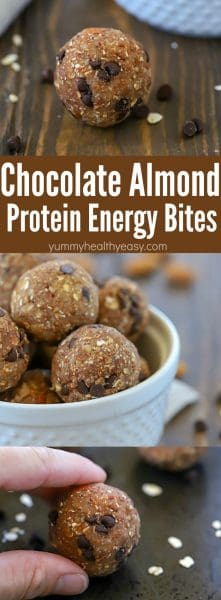 Looking for a easy to grab snack that's packed with flavor AND protein? Try these Chocolate Almond Protein Energy Bites! There are 5 grams of protein in each ball! #ad