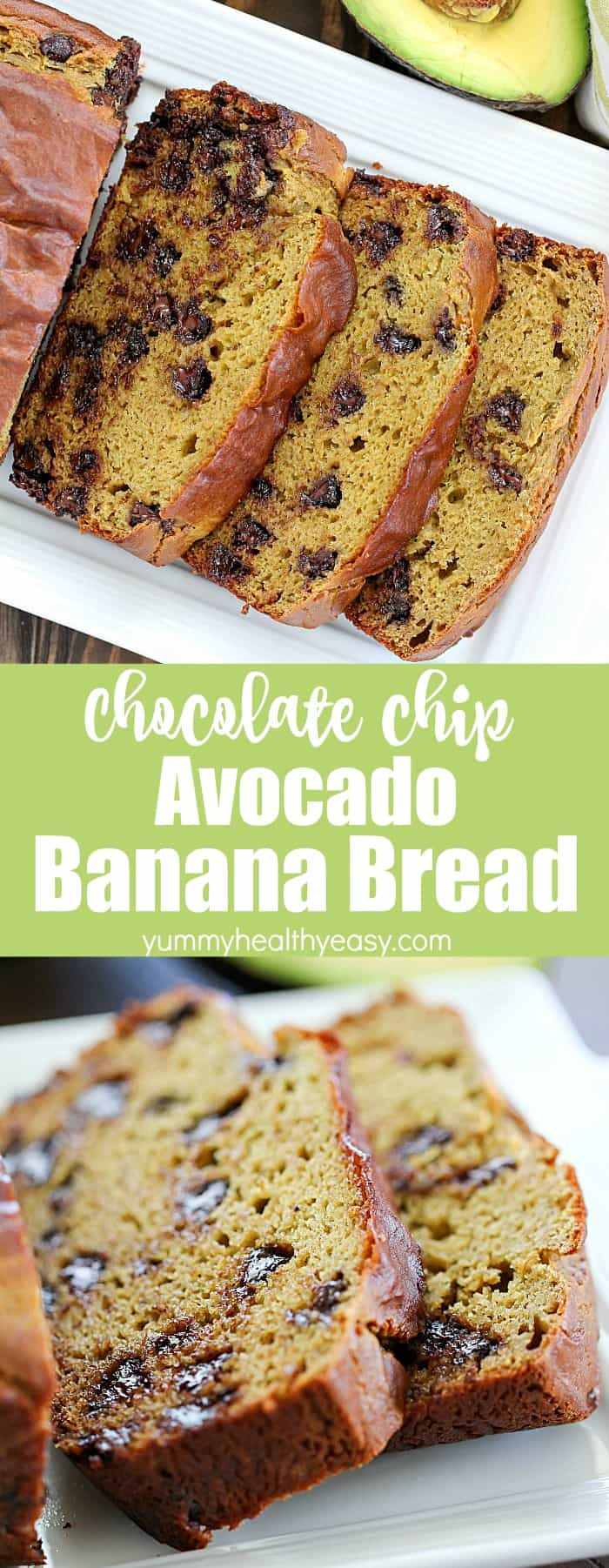 This Chocolate Chip Avocado Bread Recipe has NO oil or butter, thanks to the addition of avocado! Plus it makes this banana bread so soft and I promise you can't taste the avocado at all! A must-make recipe! #avocado #banana #bread #bananabread #quickbread #easy #yummy #delicious #recipe #dessert #snack #chocolate #chocolatechips