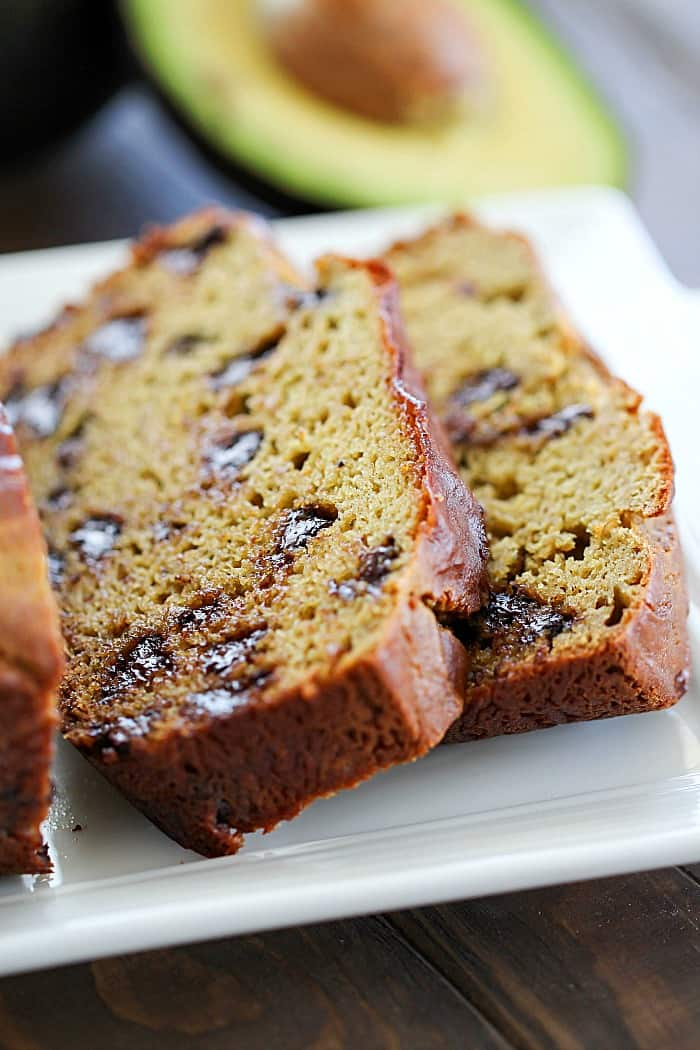 Looking for a healthier quick bread? Try this Chocolate Chip Banana Avocado Bread! It's filled with so much flavor and so soft from the addition of avocados!