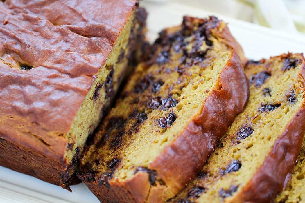 This Chocolate Chip Banana Avocado Bread is made with healthier ingredients to save calories. The avocado adds moisture so the outcome is a delicious, moist quick bread!