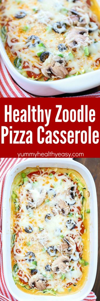 When you're craving pizza but want to steer clear of the carbs, make this Zoodle Pizza Casserole! It's quick and easy to make and is a whole lot healthier than actual pizza! PLUS there's a cookbook giveaway too!