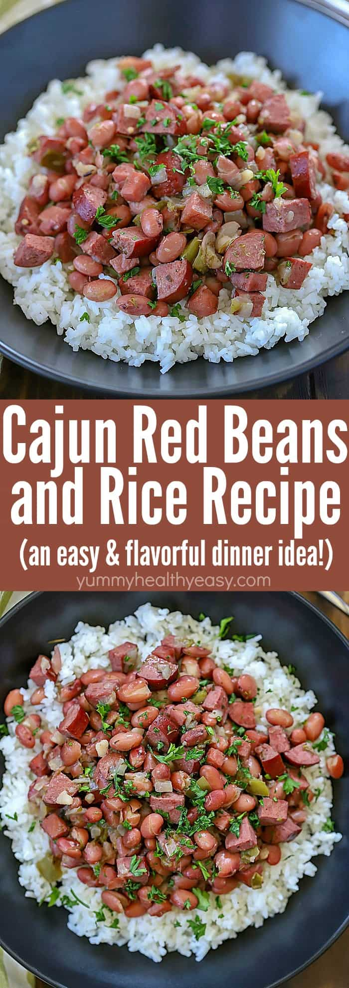 Spice your dinner up tonight and make this Cajun Red Beans and Rice Recipe! Slow cook beans, ham, turkey sausage and spices in a skillet to let the flavors combine. Serve over rice for a delicious dinner the whole family will fall in love with! #beans #rice #recipe #easy #dinnerrecipe #ham #sausage #redbeans #slowcooked via @jennikolaus