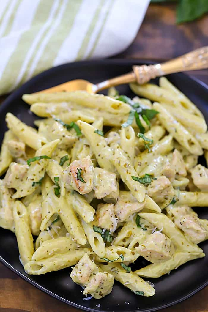 This Creamy Chicken Pesto Pasta Recipe is an amazing comfort food recipe the whole family will love!