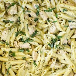 Pasta and Pesto? Yes, please! This Creamy Chicken Pesto Pasta Recipe is so delicious and super easy to whip up! The whole family will love it!