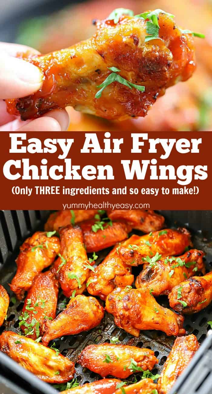 If you love chicken wings, you have to try this Air Fryer Chicken Wings Recipe! This will be your new, go-to, favorite wing recipe from now on! They're healthier, easy to make and only THREE ingredients needed!! #recipe #yummy #healthy #easy #airfryer #chicken #wings #appetizer #partyfood