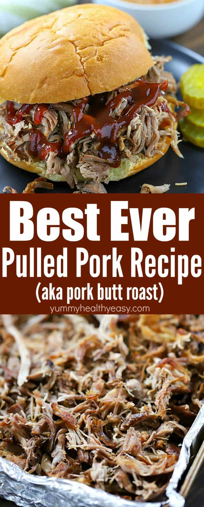 This Best Ever Pulled Pork Sandwich Recipe is seriously so easy and so yummy! A pork butt is slow cooked in the oven, then shredded and put onto buns with BBQ sauce. The pork is so tender and flavorful! This is definitely a slam dunk dinner recipe! #recipe #pulledpork #pork #easyrecipe #comfortfood #burger #sandwich #yummy #deliciousfood #dinner #leftovers #bbq via @jennikolaus