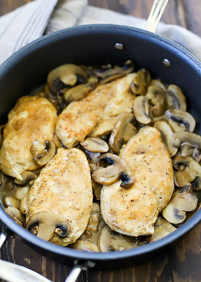 This Easy Chicken Marsala Recipe is easy to make and done in under 30 minutes! Serve with a side of steamed veggies for a low carb dinner!