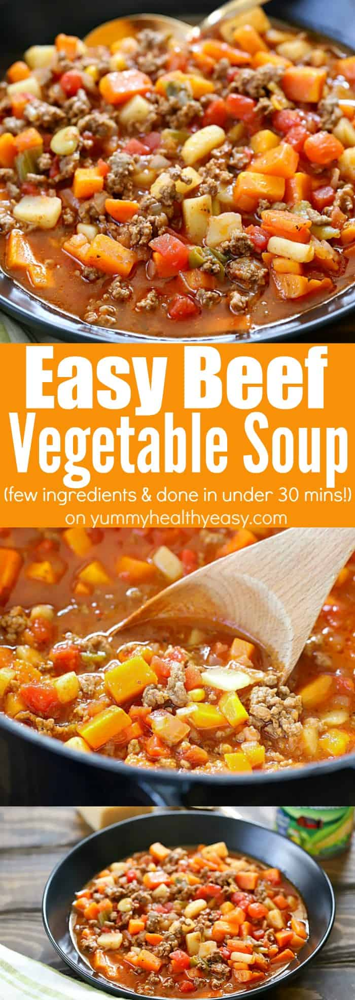 You will LOVE this easy dinner recipe: Easy Vegetable Beef Soup! It has very few ingredients (you probably have most on hand right now) and is done under 30 minutes! Plus it tastes incredible! #sponsored #soup #easyrecipe #dinner #dinnertime #easydinnerrecipe #yummyhealthyeasy #healthyrecipe #delicious #easysoup #healthy #yummy #30minutemeal #stovetopdinner #quick #easy #healthydinner via @jennikolaus