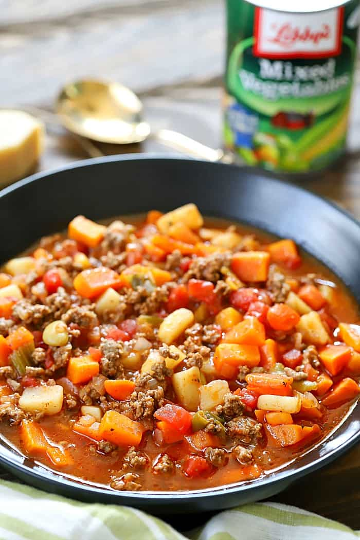 This Easy Vegetable Beef Soup Recipe is a great way to sneak vegetables into your kids' diet and it tastes incredible! AD