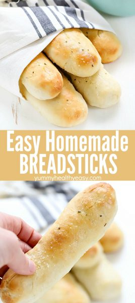 This Easy Homemade Breadsticks Recipe is easy to make and tastes incredible! Pairs perfectly with any main dish. They come out of the oven soft and delicious - the whole family will love them!