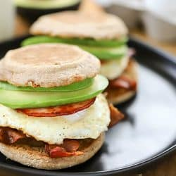 This Egg, Bacon and Avocado Breakfast Sandwich will get you going first thing in the morning! It's filled with yummy protein and of course, avocado! #AD