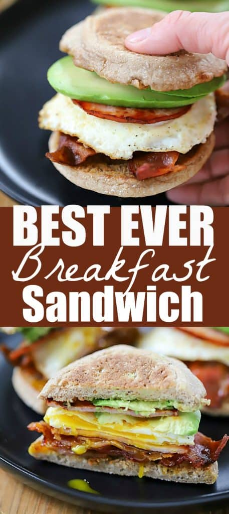 Start your morning off right with this Egg, Bacon and Avocado Breakfast Sandwich! A buttered whole wheat english muffin filled with crispy bacon, canadian bacon, fried egg and avocado. So yummy!