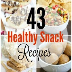 Collage photo of eight gorgeous healthy snack ideas for the whole family.