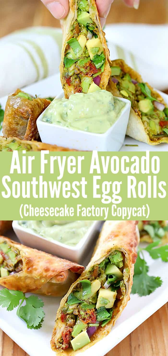 These delicious Air Fryer Southwest Egg Rolls are made with soft, rich avocados, crunchy sweet red onions, cilantro, sun-dried tomatoes, kosher salt, black pepper, chili powder, garlic powder, lime juice, and egg roll wrappers. Are you getting hungry, or is it just me?! Plus they're a Cheesecake Factory Copycat recipe you won't want to miss! #ad #eggrolls #airfryer #snack #appetizer #recipe #food #homemade #avocado #southwest  via @jennikolaus