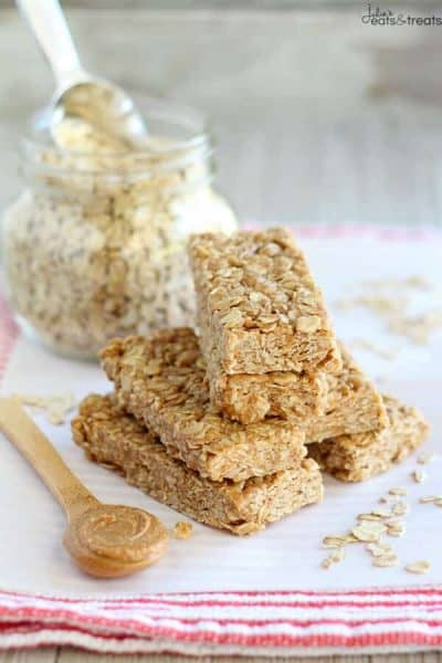 Stacked No-Bake Peanut Butter Honey Granola Bars + 43 Healthy Snack Ideas