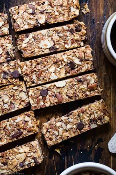Top view of cut Sugar-Free Keto Low Carb Granola Bars + 43 Healthy Snack Ideas