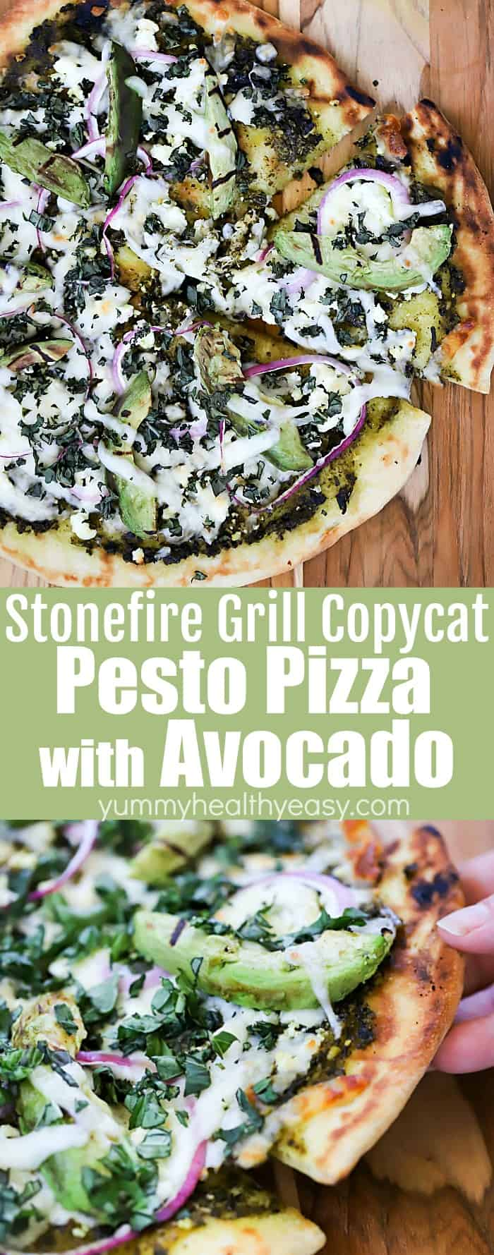 This Grilled Pesto Pizza with Avocado (Stonefire Grill Copycat) is the summer smash you've been looking for! With delicious homemade pesto sauce, two kinds of cheese, red onion, and creamy California Avocados - this is a grilled pizza recipe you're going to want to come back to again and again! 