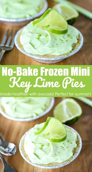 Collage image for pinterest with the text No-Bake Frozen Mini Key Lime Pies in the middle