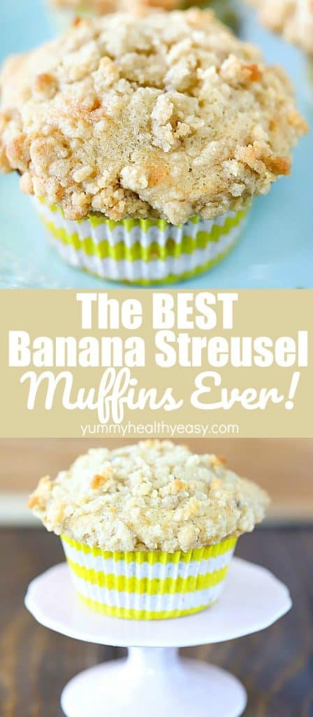 Pinterest Collage image of two close up pictures of banana struesel muffins with text in the center.