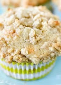 Close-up square photo of a banana muffin