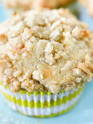Close-up square photo of a banana muffin