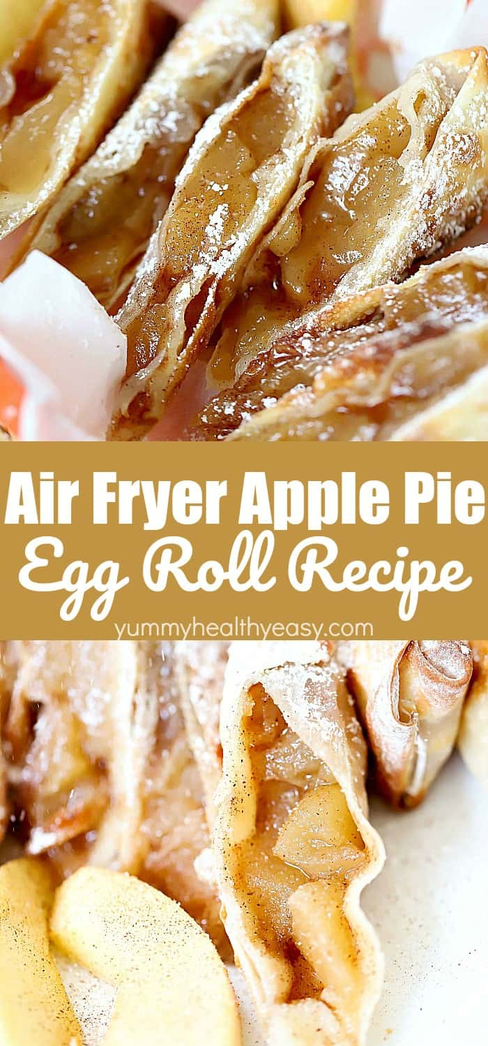 Apple pie air fryer egg rolls create a light flaky dessert that is just like apple pie but takes advantage of an air fryer for a lower calorie treat! They're quick to make and use apple pie filling to make it super easy. They're absolutely delicious!