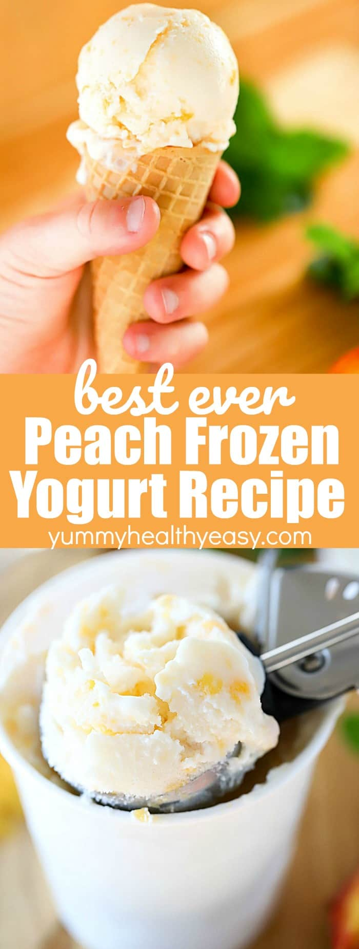 Cool down with a scoop of Peach Frozen Yogurt! Only five simple and healthy ingredients to the best frozen yogurt recipe you'll ever try!Sick of going to the ice cream store and buying expensive frozen yogurt? I've got you covered for the BEST Homemade Peach Frozen Yogurt recipe that is so cheap to make and so easy - you will be shocked! #AD #frozenyogurt #dessert #peach #easy #recipe #frozen #summer via @jennikolaus
