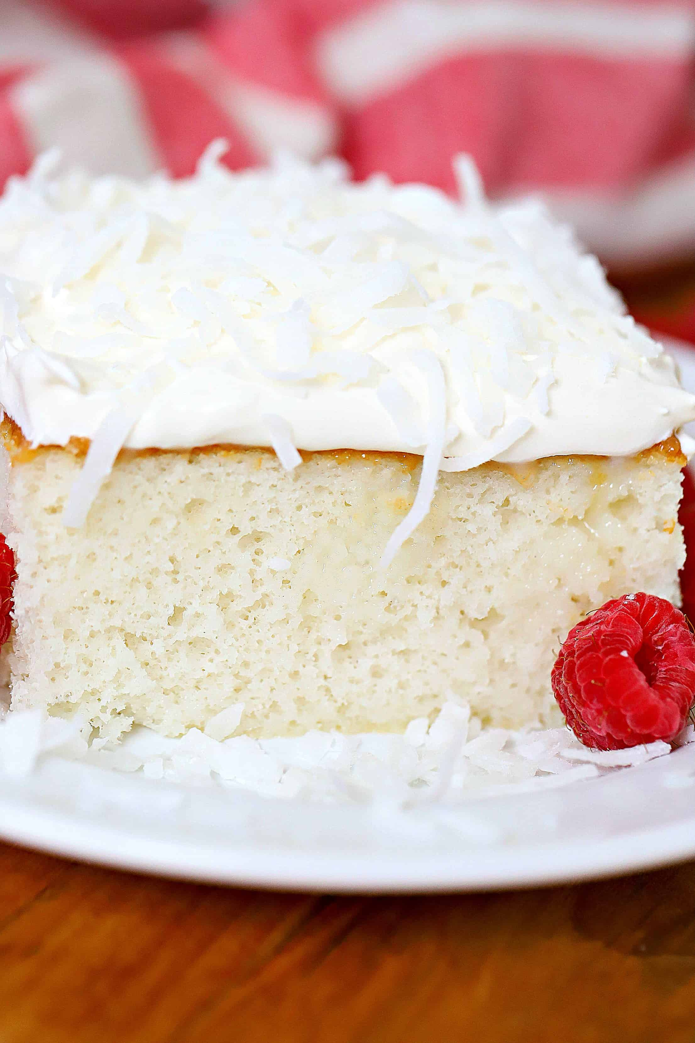 close up photo of coconut cream cake.