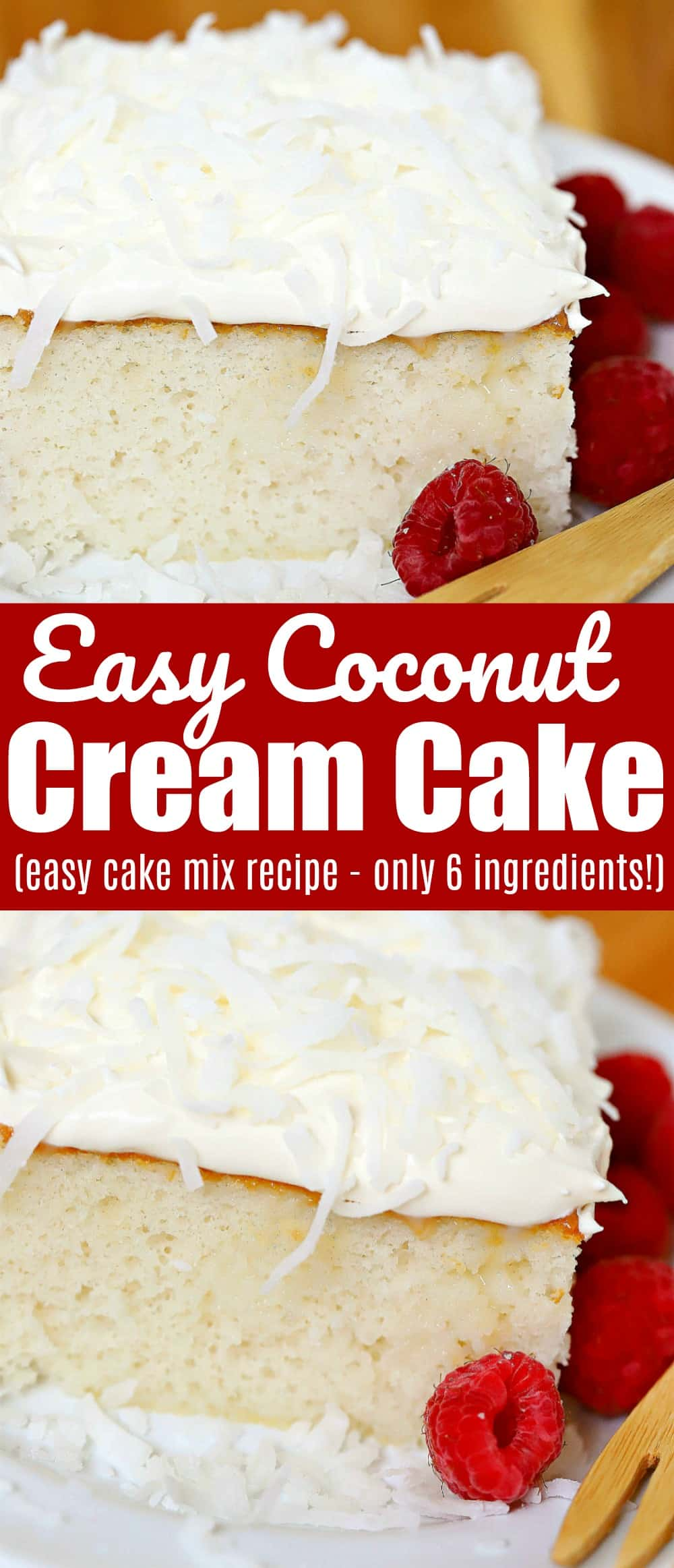 "Coconut cream cake, sometimes also known as coconut poke cake, falls into that ""time to treat myself"" category. Using a cake mix as the base (keeping it super simple) then filling it with condensed milk and cream of coconut then topped off with whipped cream. Sweet, and triple creamy!