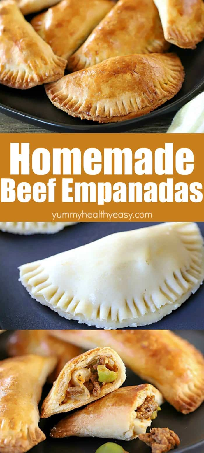 Homemade Beef Empanadas pretty much set the bar for incredible. When it comes to comfort foods, beef empanadas sit very high on the list of amazing! A homemade flaky crust with a delicious beef filling -- you will be so happy you made them! They make an incredible lunch or dinner! #AD  #beef #empanadas #homemade #recipe #healthy #mexicanfood  via @jennikolaus