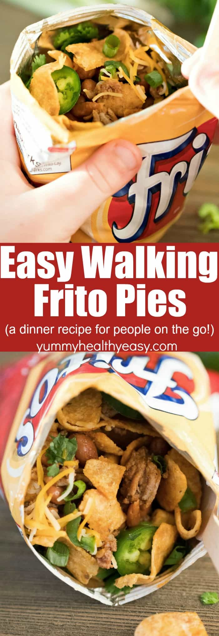 The classic Frito Pie gets a fun update with this Easy Walking Frito Pie idea! In a nutshell, it's a delicious Frito Chili Pie that's portable. Ground beef and Ranch style beans get heated up together and poured right into a Frito snack size bag. Add all your favorite toppings and off you go! Perfect for the family on-the-go.