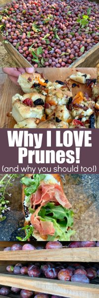 Collage image of prune recipes