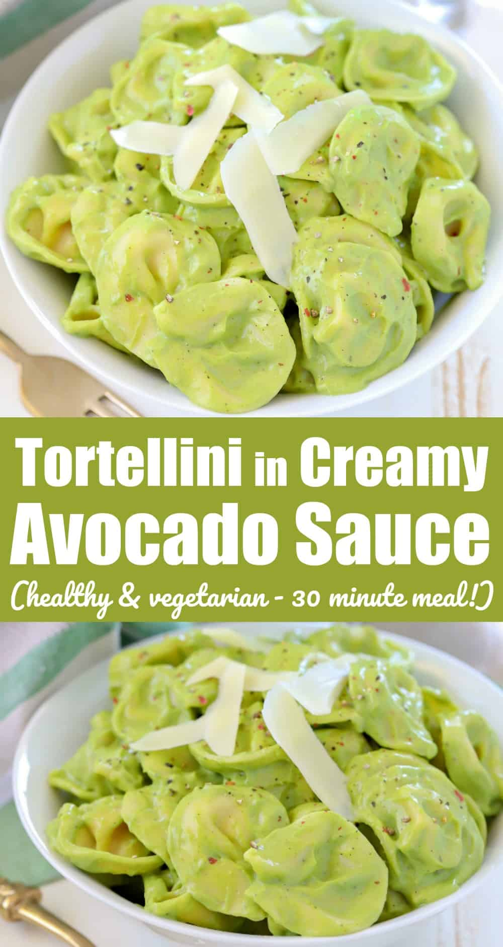 How about some tortellini covered in a creamy avocado pasta sauce?! Cooked tortellini is tossed in a creamy sauce made from the ever adaptable avocado! You will love the gorgeous green color and creaminess but it doesn't have a super avocado taste. This is a fantastic high protein yet vegetarian dinner any night of the week that the whole family will love. Plus? It contains veggies your family won't even know are there! WINNING!!!