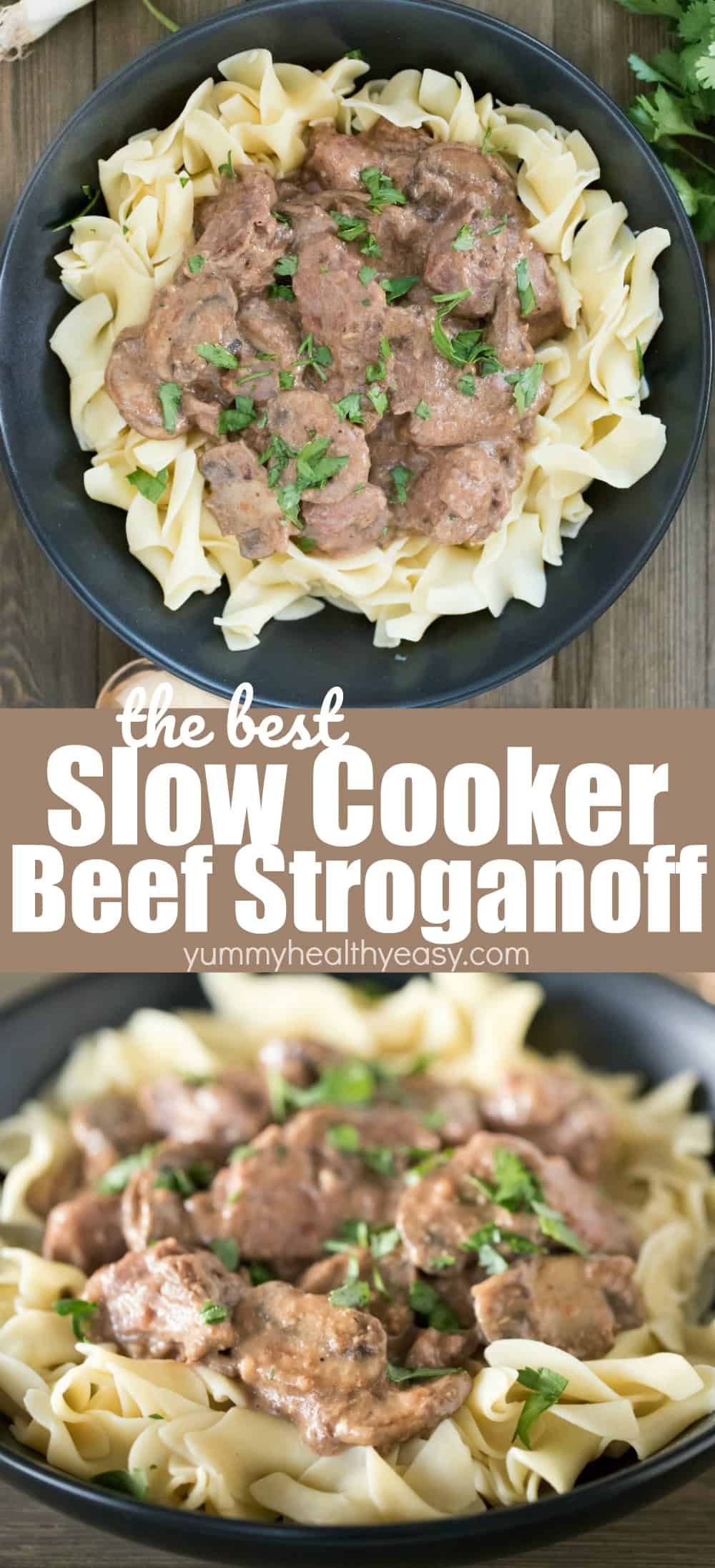 Slow Cooker Beef Stroganoff makes such a delicious and simple meal! Throw a few easy ingredients in the slow cooker and let it do its thing. By dinnertime, you have a delicious home cooked beef stroganoff dinner everyone will love! Added bonus? That your house smells amazing all day long! via @jennikolaus