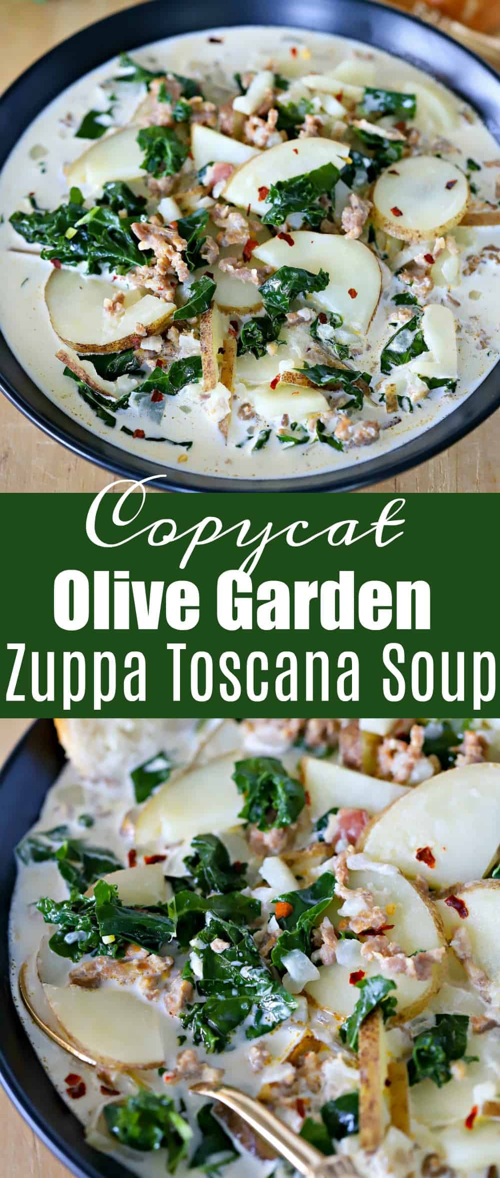 The yummiest Olive Garden copycat recipe - Copycat Olive Garden Zuppa Toscana Soup! It's the classic we all grew up loving and now you can make it in the comfort of your own home! It's super easy to make and doesn't require many ingredients. My family loves it!