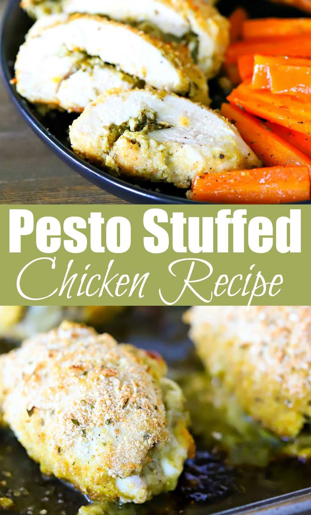 Need an easy dinner recipe? This Pesto Stuffed Chicken Recipe is EVERYTHING! It looks so fancy but it's so easy to make! Use homemade or store-bought pesto and bake this stuffed chicken for a flavorful, delicious and healthy dinner!