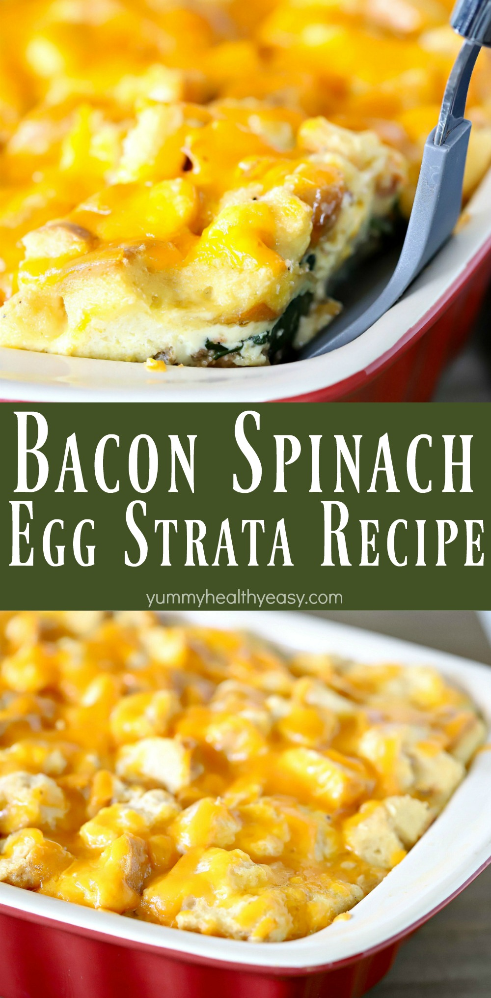 This egg strata recipe has a delicious egg & bread layer on the bottom and a layer of bacon, sausage, spinach & onion filling in the middle with another layer of bread and cheese on the top. This gorgeous casserole will impress your guests - whether it's for brunch, lunch or breakfast for dinner! #ad #sponsored #breakfast #recipe #strata #eggs #bacon #sausage #breakfastrecipe #yummy #delicious via @jennikolaus