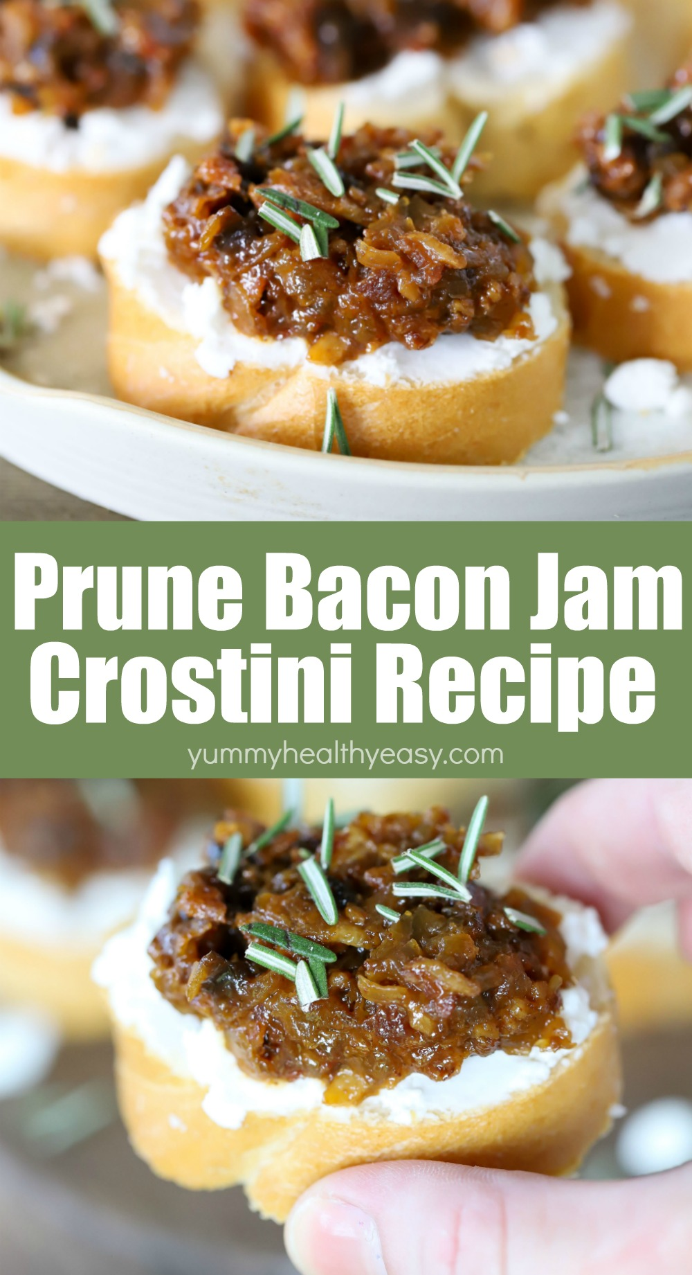 This California Prune Bacon Jam Crostini Recipe is absolutely scrumptious! It might sound a little different from a normal crostini - but the flavors of prunes, bacon & goat cheese on a toasted baguette are absolutely INCREDIBLE together. You will love it!